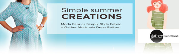 Moda Fabric simply style geometric frames and gather sewing patterns Mortmain dress