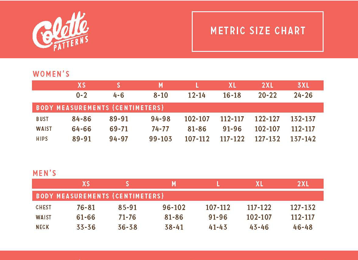 colette patterns metric size guide