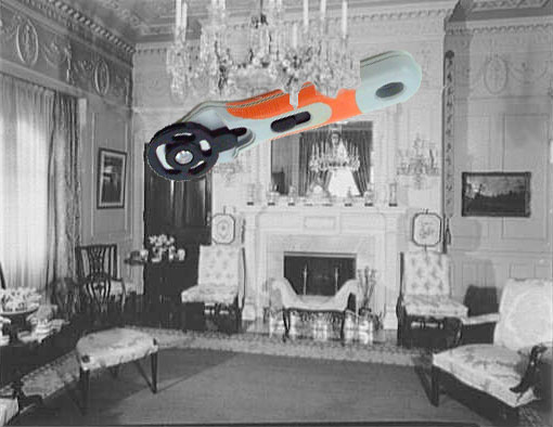 No-one was quite able to explain how the enormous rotary cutters got caught up in the chandelier.