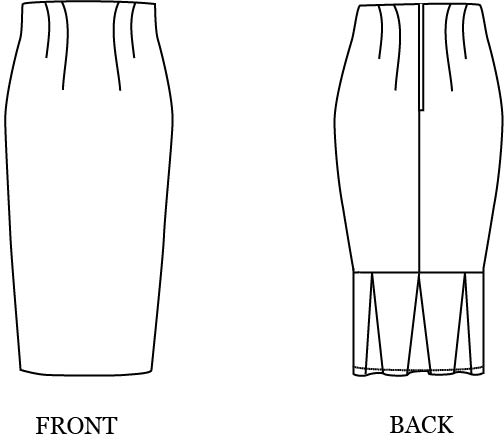 simple sew pleated back pencil skirt sewing pattern