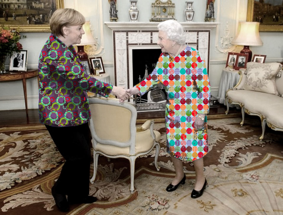 There was a riot of colour as two fashion icons met at the Palace.