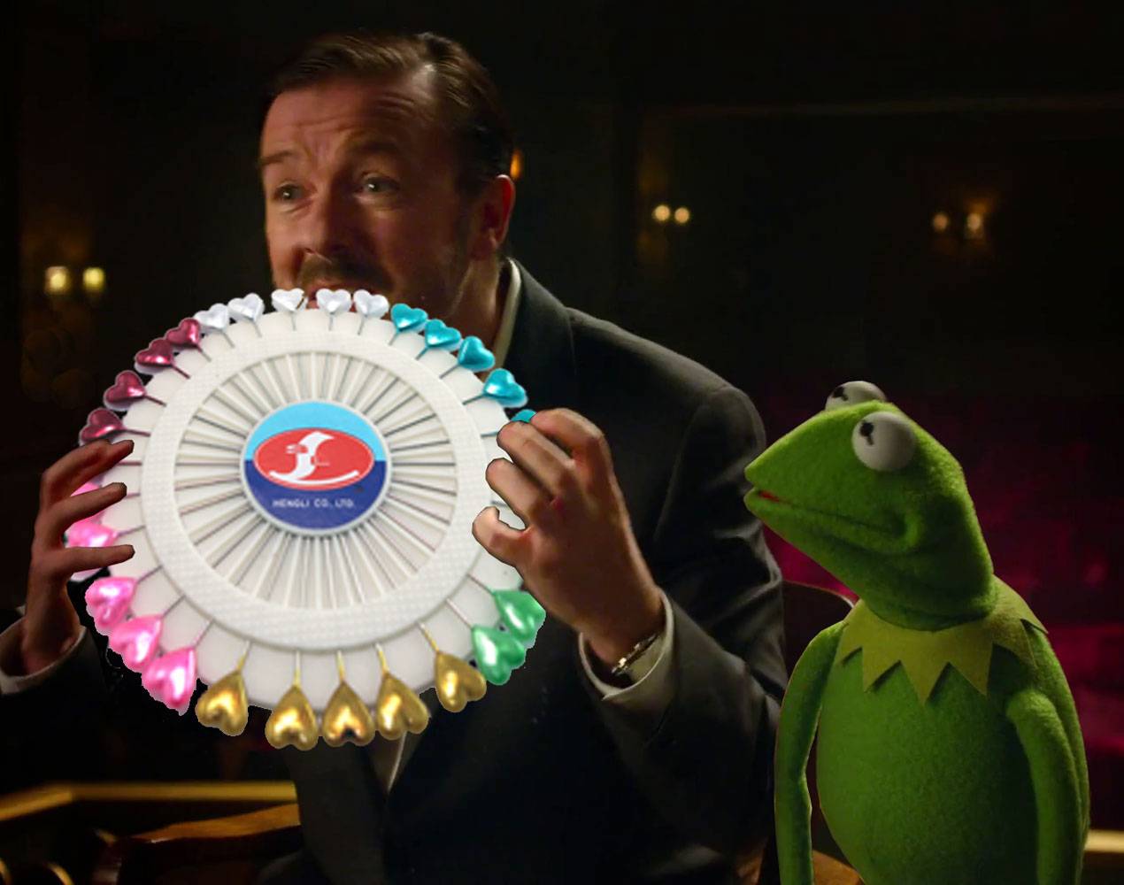 Kermit looks on, thinking, that pin wheel does indeed look delicious.