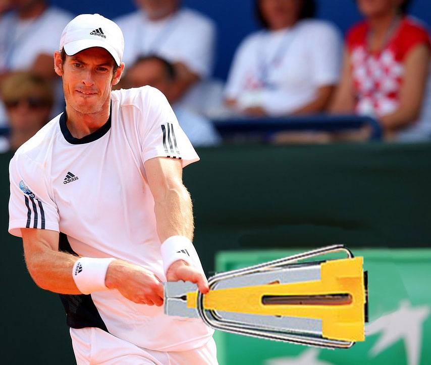 Whilst recovering from back surgery, Andy could be seen practicing with an enormous bias binding maker.