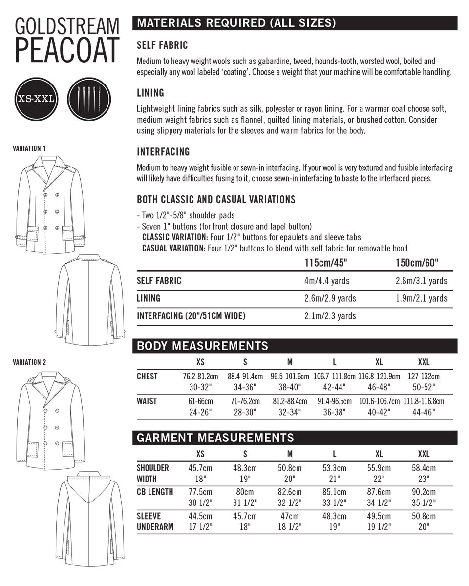 goldstream peacoat pattern info