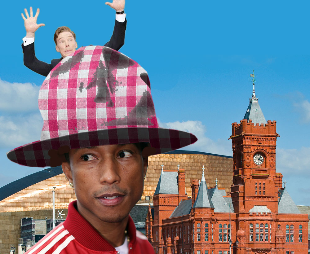 Pharrell comes to Cardiff to try on huge TrixieLixie gingham hat.