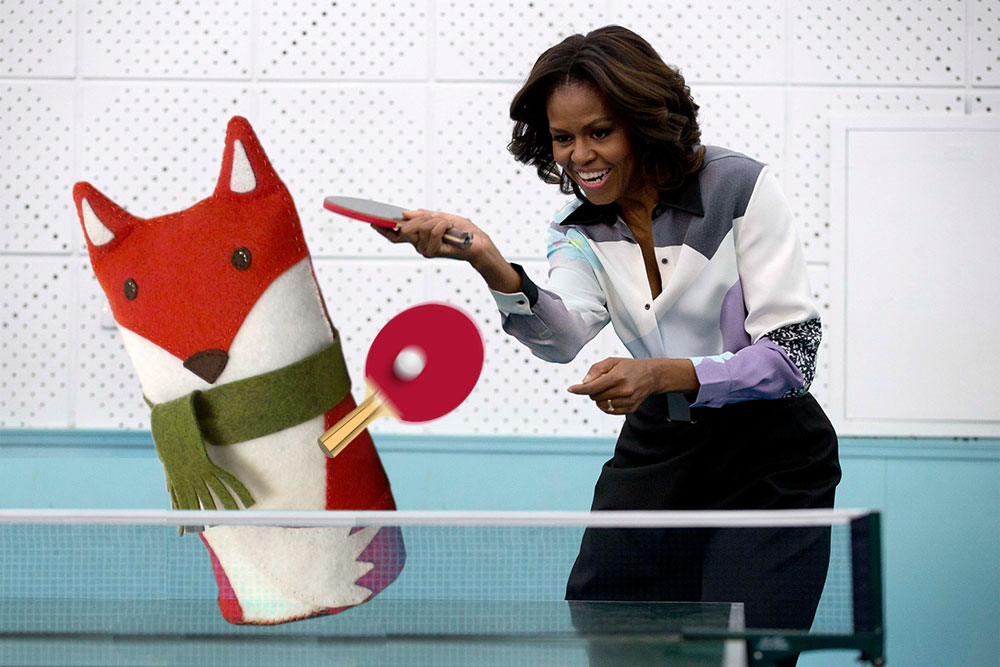 The unlikely Ping Pong duo Michelle and Felt Fox, take on all comers.