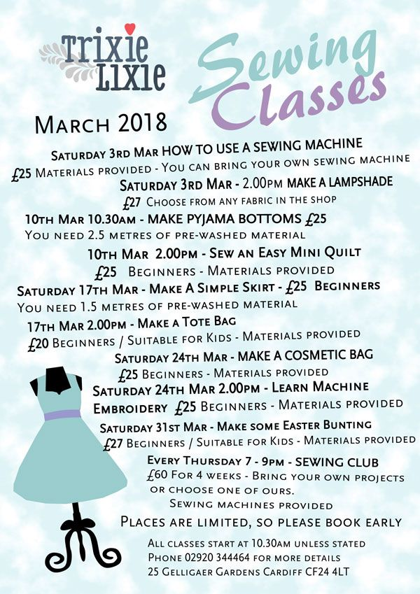 march sewing classes