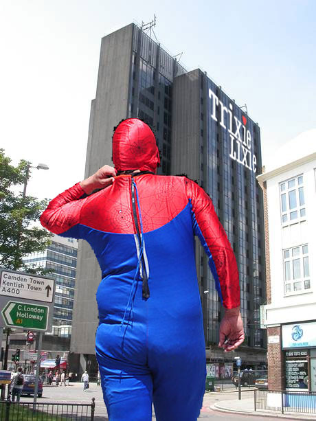 Spiderman heads back to his day job after saving the world during the lunch hour.