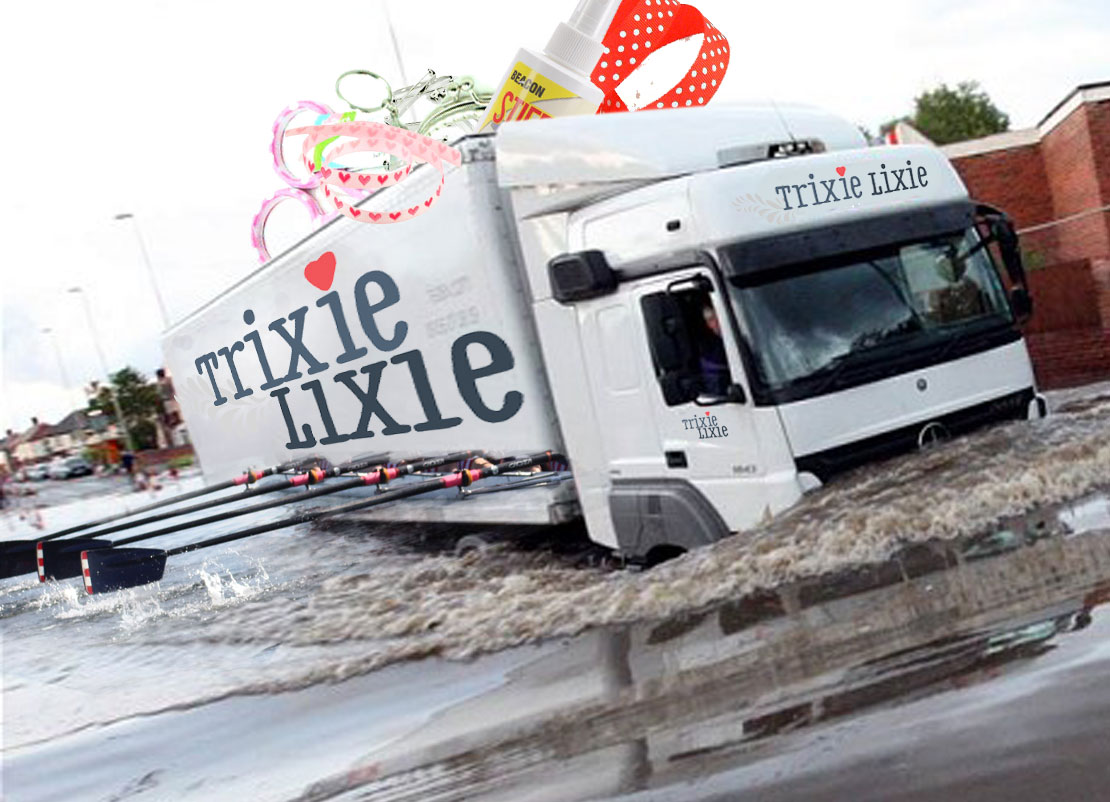 The hastily improvised, TrixieLixie 'RowLorry', gets parcels through whatever the weather.