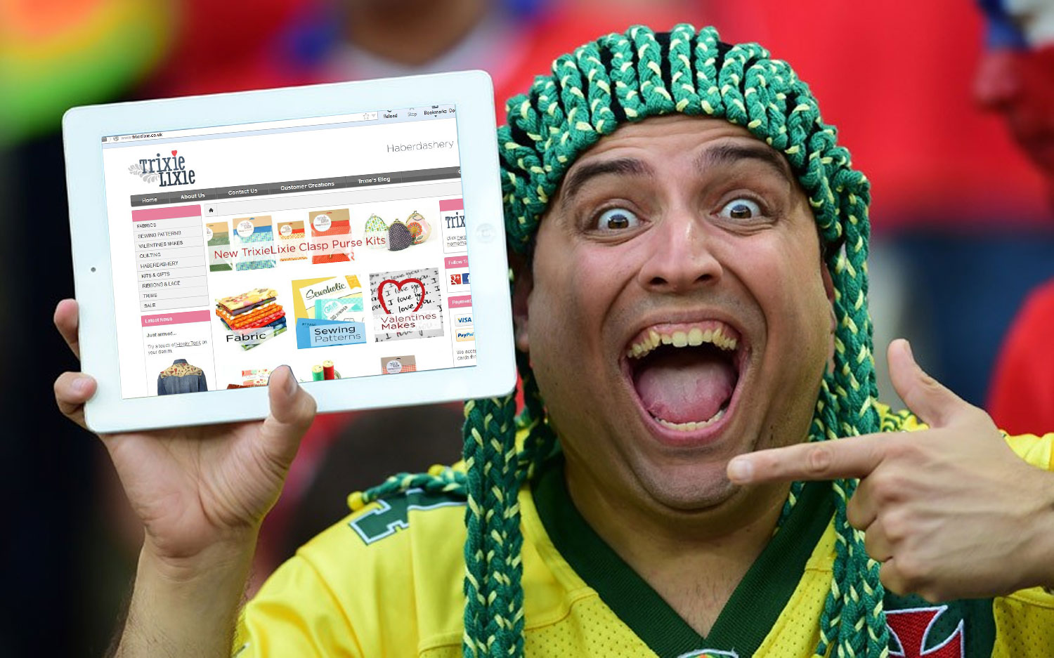 World cup fan is over the moon after buying a Sewaholic sewing pattern from TrixieLixie on his iPad.